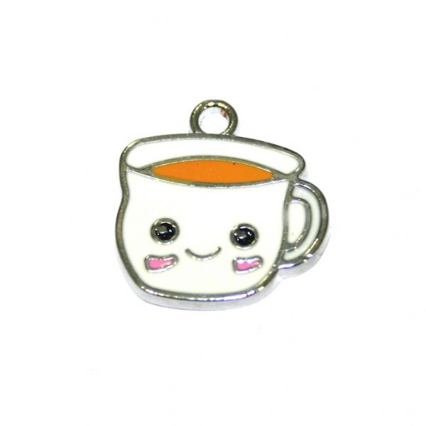 1pce 16*14mm Rhodium plated white cuppa / cup of tea enamel charm - S.D03 - CHE1165
